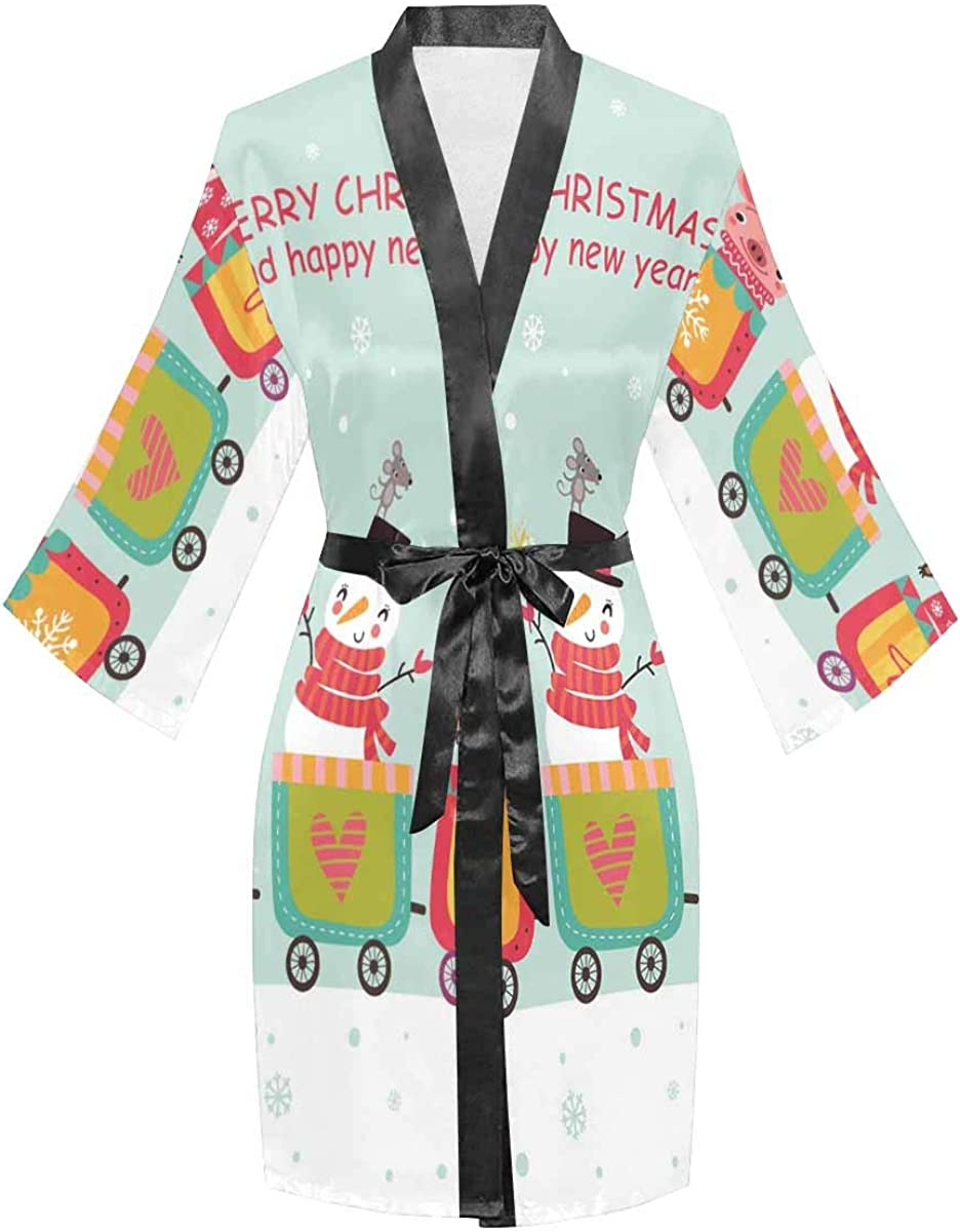 InterestPrint Women's Max 86% OFF Long Sleeve Kimono V-Neck Oblique Superlatite with and