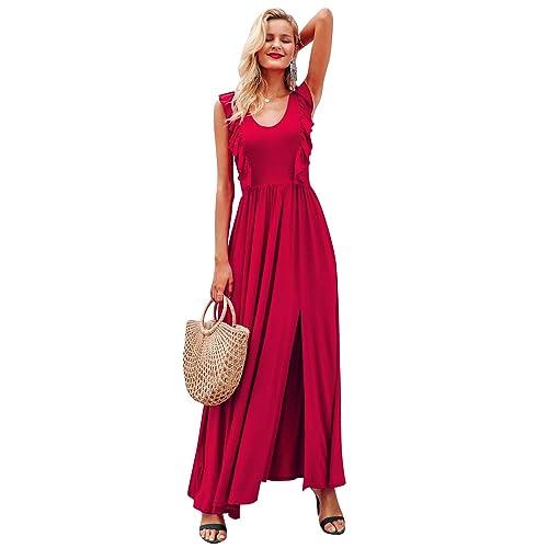 08c276a6956 Miessial Women s Sleeveless Split Maxi Dress Ruffle Elegant Flowy Long Dress