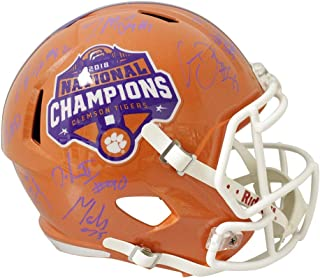 Clemson Tigers 2018 Team Autographed Signed Orange Replica Helmet Autographed Signed in Purple- Sports Collectibles Authentication