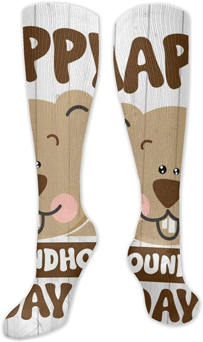 Happy Groundhog Day Knee High Socks Leg Warmer Dresses Long Boot Stockings For Womens Cosplay Daily Wear