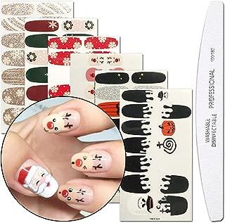 WOKOTO 6 Sheets Nail Art Adhesive Polish Stickers Wraps Tips With 1Pcs Nail File Christmas Halloween Manicure Decal Kits
