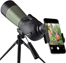 Gosky 20-60x60 HD Spotting Scope with Tripod, Carrying Bag and Scope Phone Adapter - BAK4 45 Degree Angled Eyepiece Telesc...