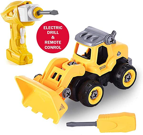 Lcyus Bulldozer Take Apart Toys Assembly Bulldozer With Constructions Set Vehicle Play Set With Electric Drill Converts To Remote Control Car Educational Toys For Toddlers Yellow