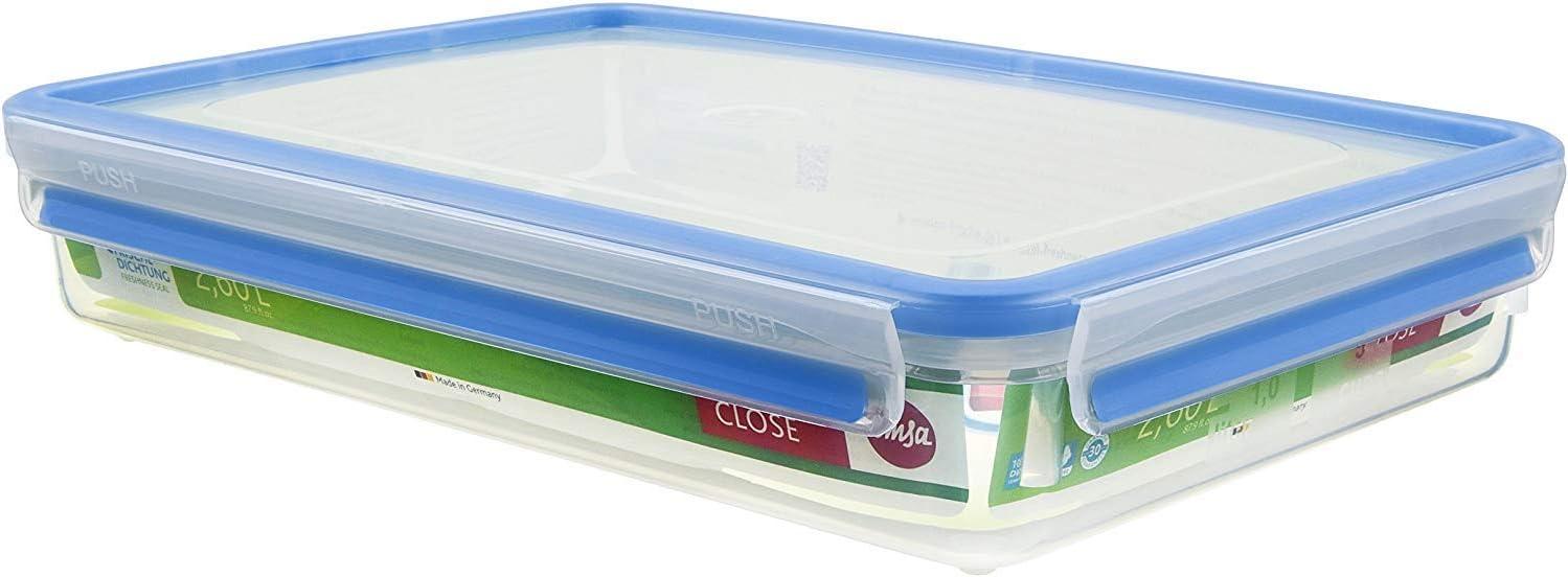 Emsa Clip & Close Conservador Hermético de Plástico Rectangular de 2,6 L, Transparente y Azul