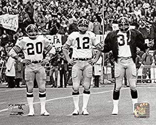 Pittsburgh Steelers Terry Bradshaw Franco Harris and Rocky Bleier During Super Bowl IX In 1975 8x10 Photo, Picture