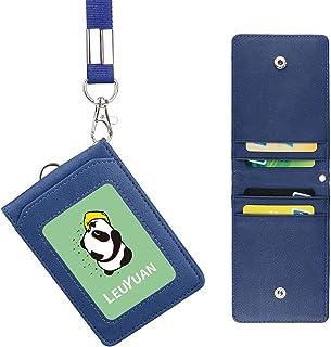 LEUYUAN Porta Badge con Cordino, ID Carte Porta Badge in PU Pelle con 1 finestra ID e 4 fessura per carte, ID Card Badge H...