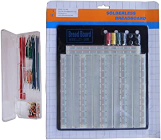 TEKTRUM SOLDERLESS EXPERIMENT PLUG-IN BREADBOARD KIT WITH PRE-FORMED SOLID JUMPER WIRES FOR PROTO-TYPING CIRCUIT/ARDUINO (3220 TIE-POINTS)