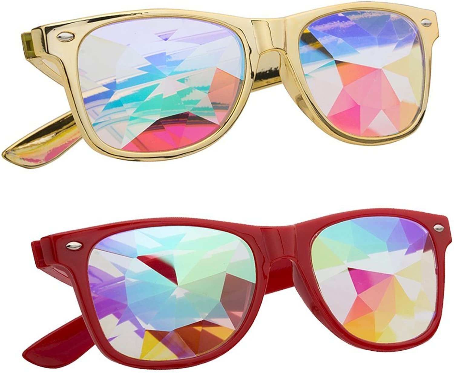 Kaleidoscope Glasses  Rainbow Rave Prism Diffraction Crystal Lens Sunglasses Goggles