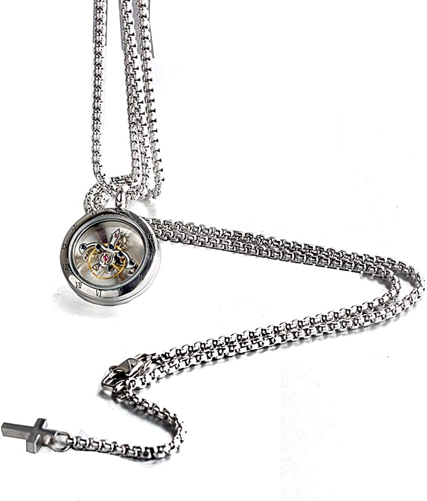 FORCEHOLD Rotating Movement Glass Cover Screw Opened Cross Pendant Stainless Steel Man Golden Necklace