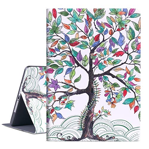Vimorco iPad 9.7 2018/2017 Case, iPad Air 2, iPad Air Case, Soft TPU Back Cover, Bump Drop Resistance Folio Leather Case, Adjustable Stand Auto Wake/Sleep Smart Case (Life Tree)