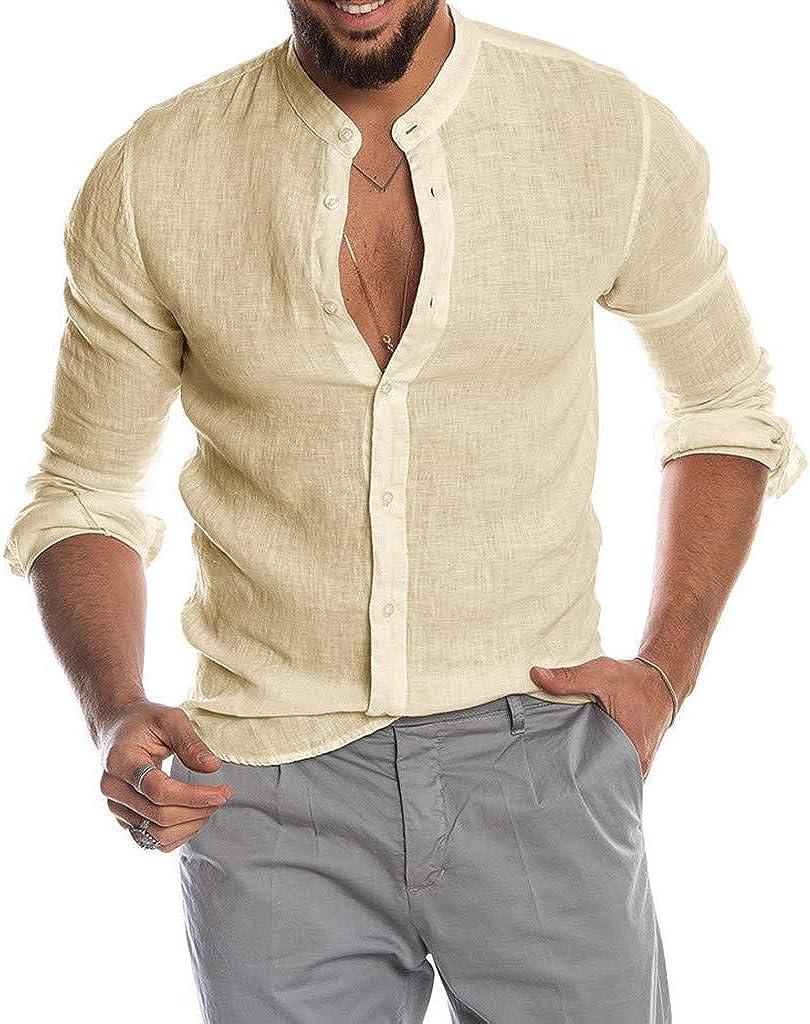 WUAI-Men Cotton Linen Button Down Dress Shirt Long Sleeve Caasual Loose Fit Summer Beach Yoga T-Shirts Tops