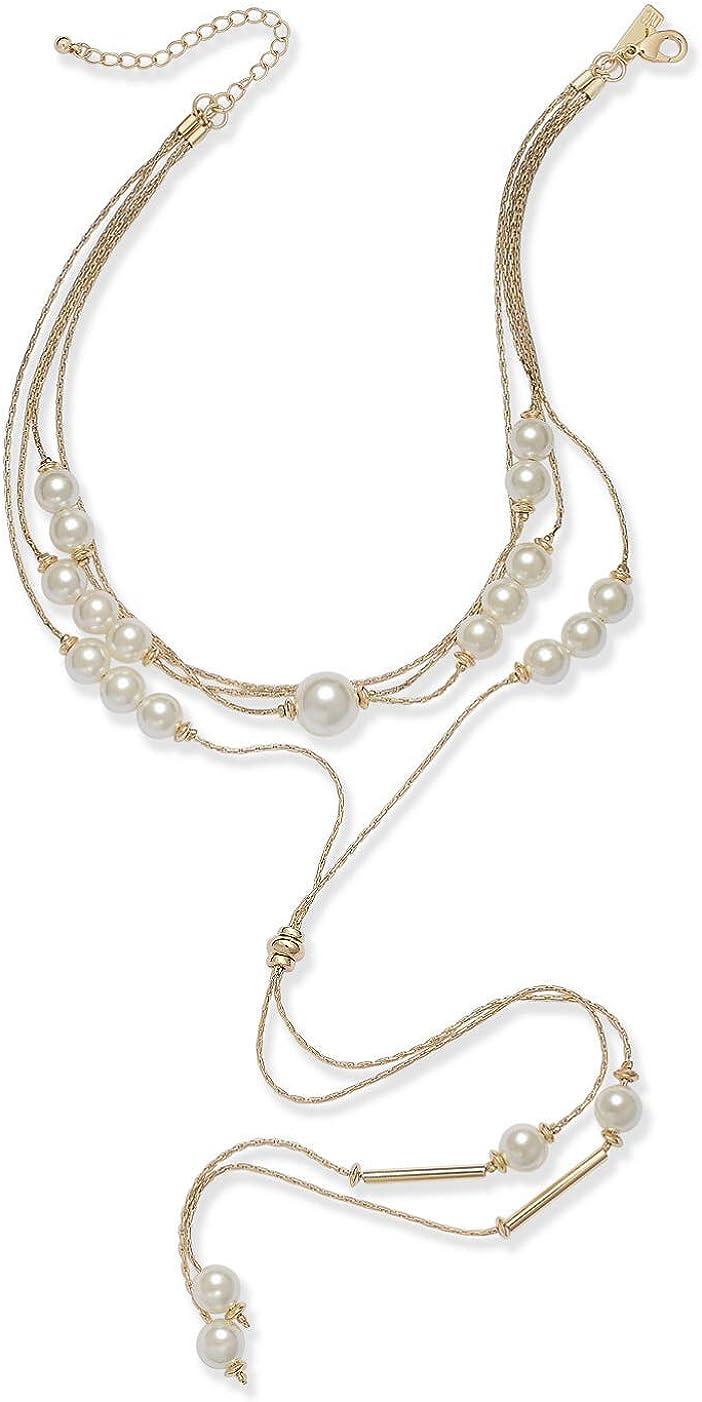 INC International Concepts I.N.C. Gold-Tone Imitation Pearl Multi-Strand Lariat Choker Necklace, 14