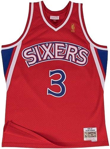 Mitchell & Ness - Maillot NBA Allen Iverson Philadelphie Sixers 1996-97 Mitchell & ness Hardbois Classic swinghomme Bleu Taille - XS