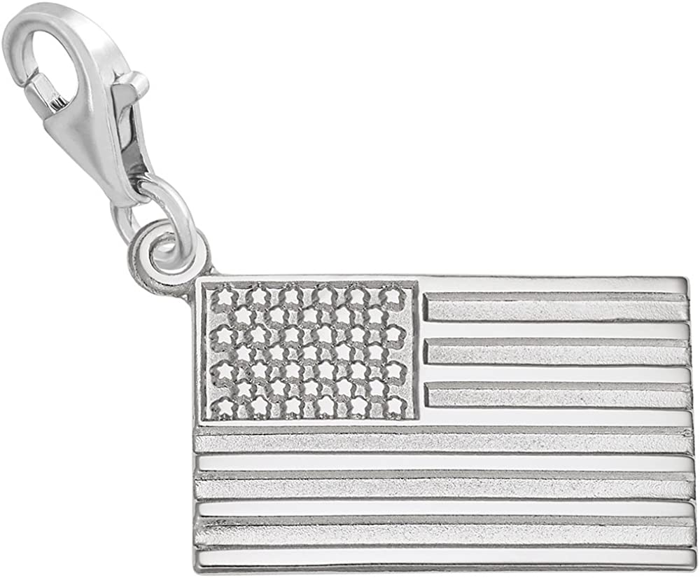 American Flag Charm Long-awaited with Lobster for Al sold out. Charms Bracelet Claw Clasp