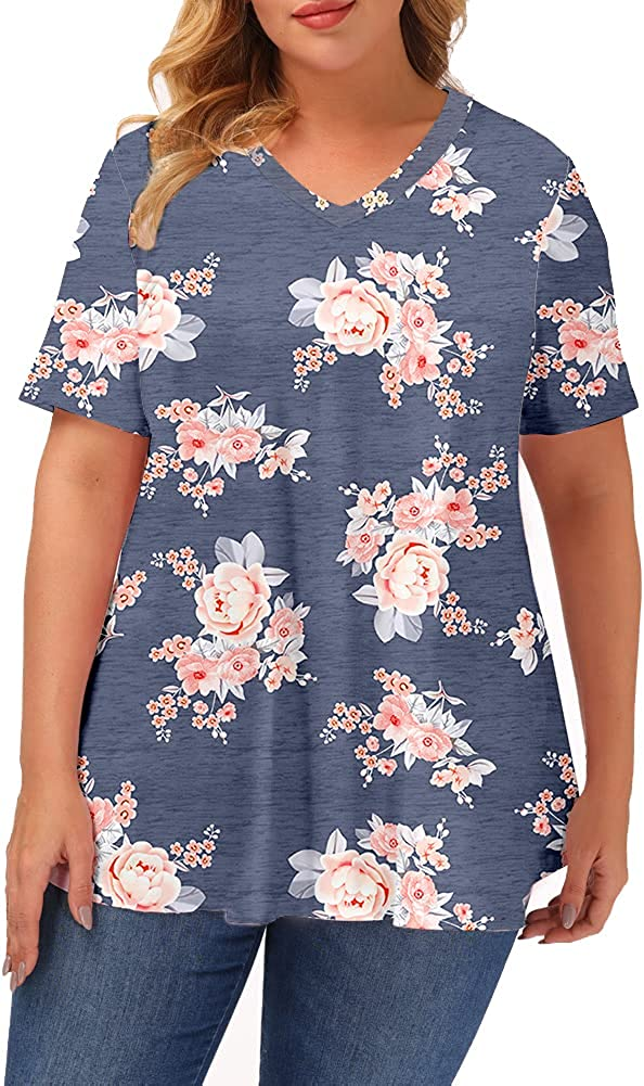 Gboomo Women's Plus Size Tops Casual V Neck Tunics Short Sleeve Loose T Shirts