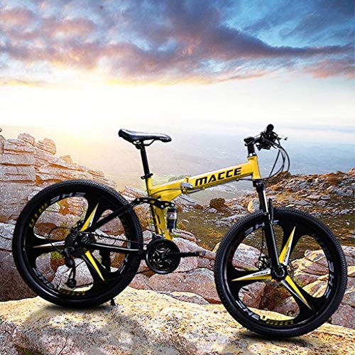 Folding Mountain Bike, 24in Full Suspension Bikes with Disc Brakes, Shimanos 21 Speed Bicycle Full Suspension MTB Bikes for Men/Women, Three-Knife Wheel (Yellow)