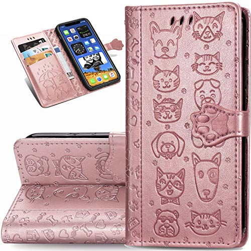 Compatible with iPhone 12 6.1' Cartoon Girl Wallet Case,ZYZX Cat Dog Style Flip Phone Shell with Credit Cards Slot and Stand Shockproof Magnetic Protective Cover Case for iPhone 12/Pro MG (Rose Gold)