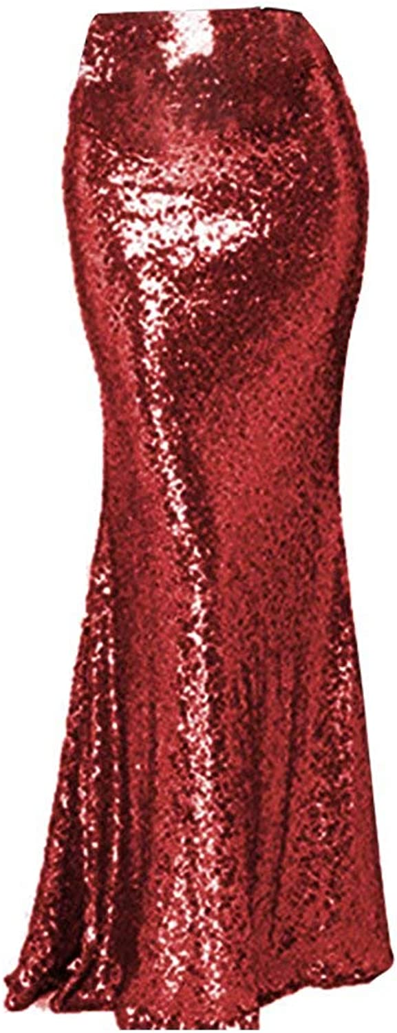 NaXY Simply Sequin Party Skirt Maxi Dresses for Prom Cocktail Party Evening Casual Dresses Skirt Red Size 16w