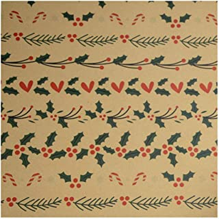 Umitay Crop Christmas Paper Arts Holiday Wrapping Paper Bundle 3 Pack Reversible Christmas Wrapping Paper Set Gift Tag Stickers Rolls Cut Out Lines Xmas Elements Print Paper Gift