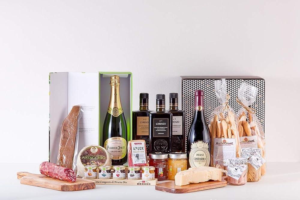 P&v,cesto specialita` gastronomiche gourmet siciliane,pecorino al pistacchio,champagne, bottarga