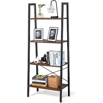 COSTWAY Estantería de 4 Niveles con Marco de Metal Estante de Almacenamiento Diseño Industrial Librería Escalera para Oficina Salón Escritorio: Amazon.es: Hogar