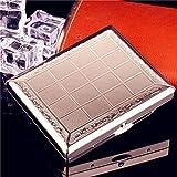 ALHJ Caja De Cigarrillos Cobre Puro,Fuerte,Ligero,Elegante, Personalidad, Portátil Extra Slim Cajas De Tabaco,Regalo Comercial Ideal (Sostiene 20),Silver-A