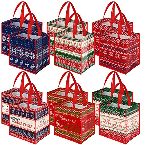Aneco 12 Piecess Ugly Christmas Sweater Non-Woven Bags Christmas Party Gift Bags Tote Bags with Handles 9.8 x 7.9 x 9.8 Inch for Party Favors