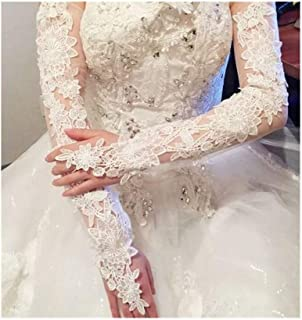 ZYFZD Bride Hollow Lace Wedding Gloves Lengthened Bridal Gloves White Ivory Fingerless Long Wedding Accessories 2020 (Color : Ivory)
