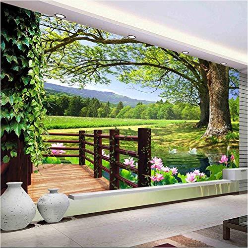 Aangepaste 3D foto behang platteland landschap landschap voor muren hoge bomen zwembad Lotus muur muurschildering fotopapier woonkamer muur Decor 400x280cm
