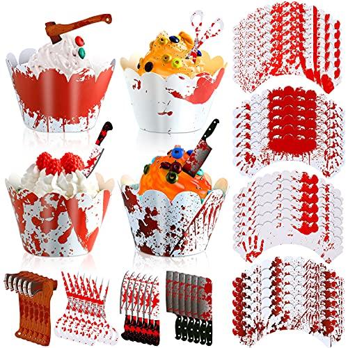 48 Toppers Envoltorios de Cupcake de Halloween Decoración de Pastel de Terror Decoración de Tijeras Hacha Machete de Commida de Halloween Creación de Atmósfera de Terror para Cumpleaños