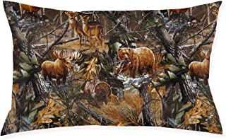SKYISOK Camo Hunting Deer Bear Moose Turkey Duck Pillowcases Decorative Pillow Covers Soft and Cozy, Standard Size 20