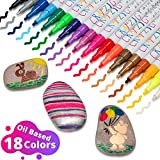 Crafzig Paint Markers for Rocks – Oil Based Paint Markers, 18 Pieces Assorted Color, Quick Dry Permanent...