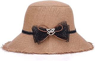 ZiWen Lu Hat Korean Version of Linen Tassel New Lady Outdoor Sunscreen Beach Sun (Color : Brown, Size : 58cm)