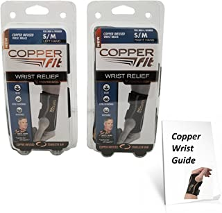 Copper Fit Compression Wrist Sleeve Small Medium SET Left and Right Wrist Sleeve (Small/Medium)