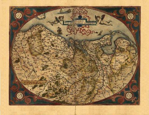 Reproducción de mapa antiguo Germaniae Inferioris, Holanda, Bélgica y Luxemburgo, Por Abraham Ortelius A1 78 x 57 cm de tamaño