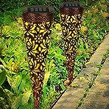 Midore Solarlampen für Außen Metall, 2 Stück LED Solarleuchten Garten IP65 Wasserdicht Warmweiß 2800K Auto ON/OFF Gartenleuchte Dekorative für Terrasse Rasen Garten Hofwege Wege Teich
