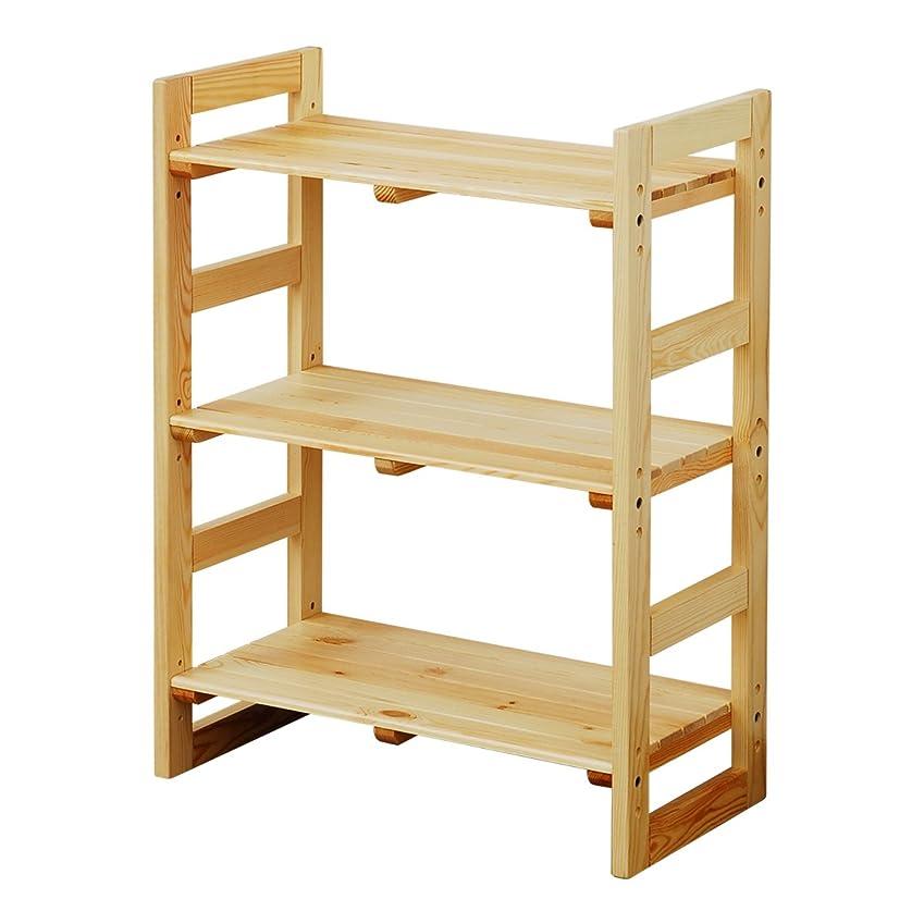 聴覚ヶ月目外交官山善 ウッド ラック 幅60×奥行30×高さ80cm 3段 木製 棚板高さ調節可能 組立品(工具付き) ナチュラル SPR-8060(NA)