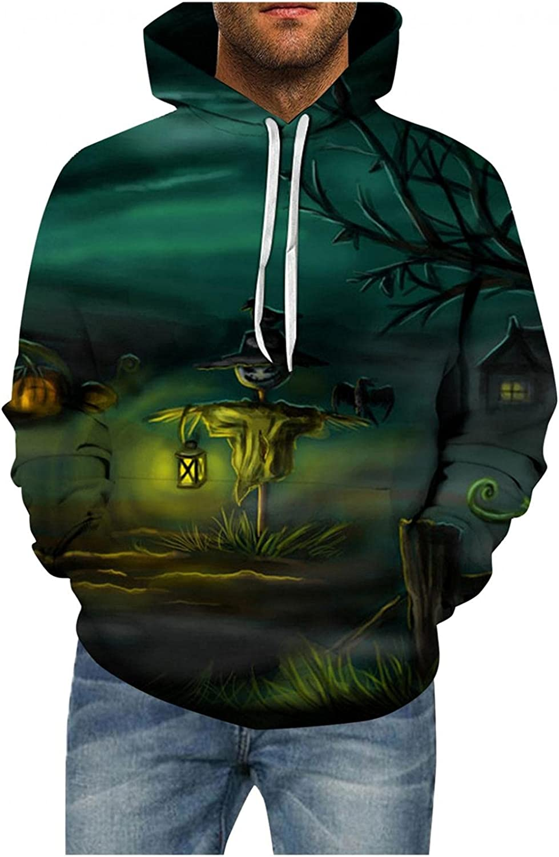 Aayomet Halloween Pattern Shirts for Men Patchwork Printed Tops Cozy Long Sleeve Hooded Pullover Hoodies