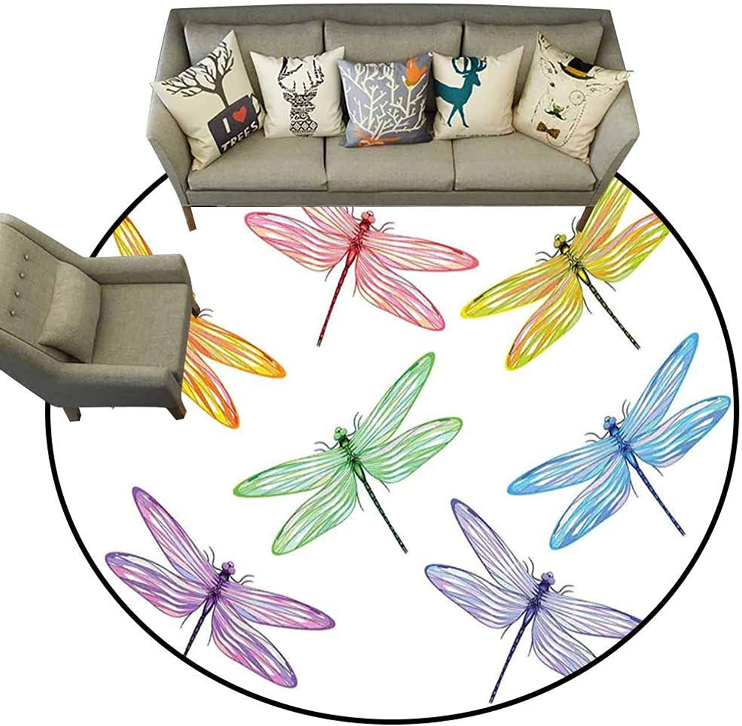 Doormat Kitchen Bathroom,Dragonfly,Group of Dragonflies with colord Patches Elongated Body Winged Animal Design,Multicolor,shoes Scraper Door Mat Living Room Rug4.6 feet