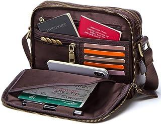 حقيبة رسول جلدية قديمة للرجال، حقيبة كروسبودي صغيرة، حقيبة كتف للسفر 7.9 بوصة حقيبة كمبيوتر محمول (أسود)