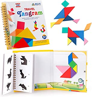 Coogam Travel Tangram Puzzle - Road Trip Pattern Blocks Jigsaw Shapes Dissection Games with Solution - IQ Book Educational Toy Brain Teaser Gift for Kid Adult Challenge ( 3 Set of Magnetic Tangram )