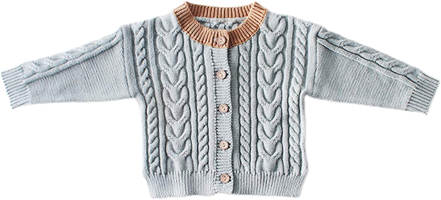 aporake Baby Girl Knitted Super-cheap Cardigan Max 65% OFF Sweater Long Sleeve Single-Br
