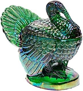 Covered Turkey Dish - Mosser Glass USA (Hunter Green Carnival)