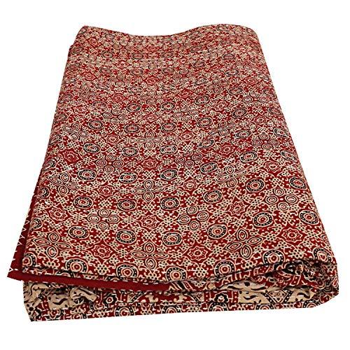 Sophia Art Kantha Quilt handgefertigt Kantha Quilt Überwurf Queen Size Ajrakh Bettbezug Ajrakh Blockdruck Kantha Tagesdecke Decke (rot)