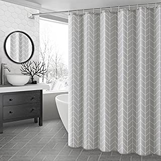 Ufaitheart 36 by 72-Inch Fabric Shower Curtain Small Size, Heavy Duty, Waterproof Bathroom Decorative Curtains Geometric, Grey&White