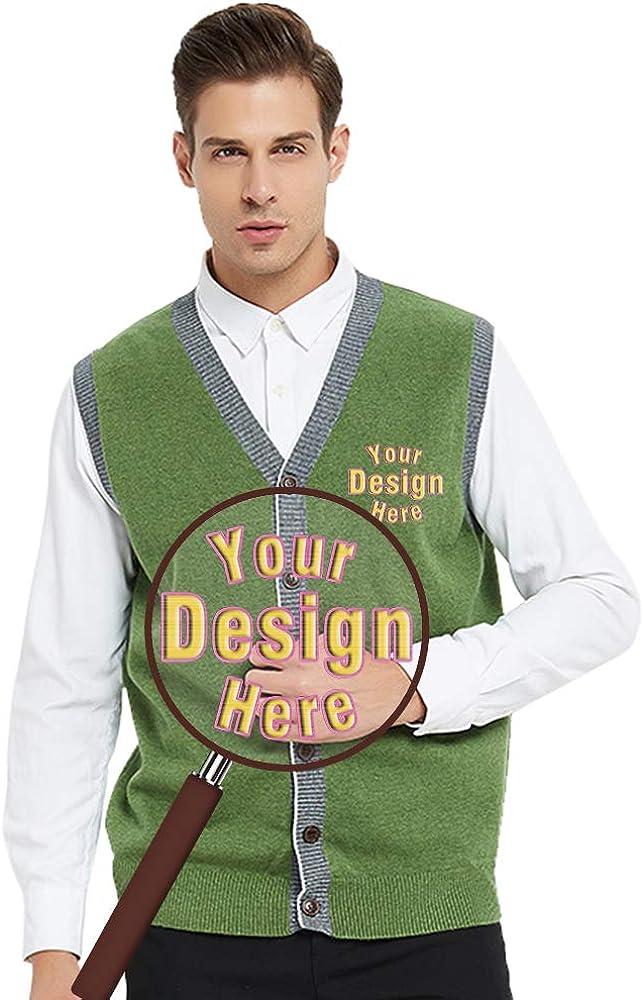 Embroider Monogrammed Men's Cardigan Custom Stylish Button Sweater Vest