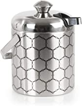 ThinkGeek, Inc. Stainless Steel Ice Bucket with Ice Molecule Pattern | A Fun Way to Keep Your Ice Cold & Frozen | Includes Set of Ice Tongs
