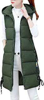 Macondoo Womens Fall Winter Hooded Outwear Cotton-Padded Puffer Quilted Down Vest