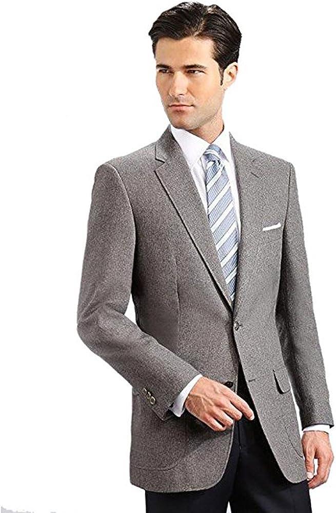 Men's Elegant Modern 2 Button Notch Lapel Blazer - Many Colors (56 Long, Grey)