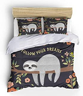 Vichonne Sloth Bedding Sets Queen Size,3 Piece Lovely Sloth Follow Your Dreams Duvet Cover Sets for Girls Boys Teens Dorm Bedroom Decor,No Comforter/Filling